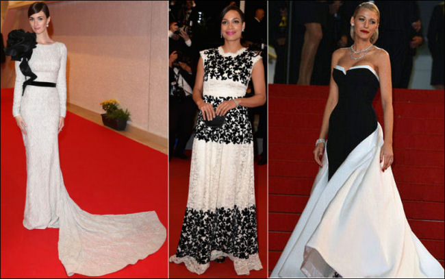 2014 cannes red carpet dresses fashion black and white