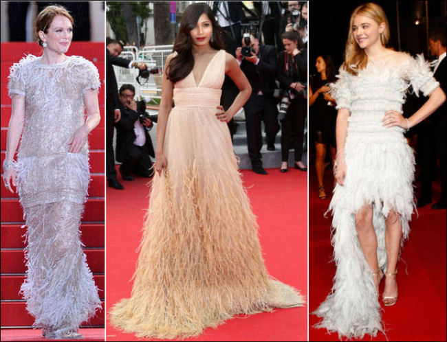 2014 cannes red carpet dresses fashion feathers