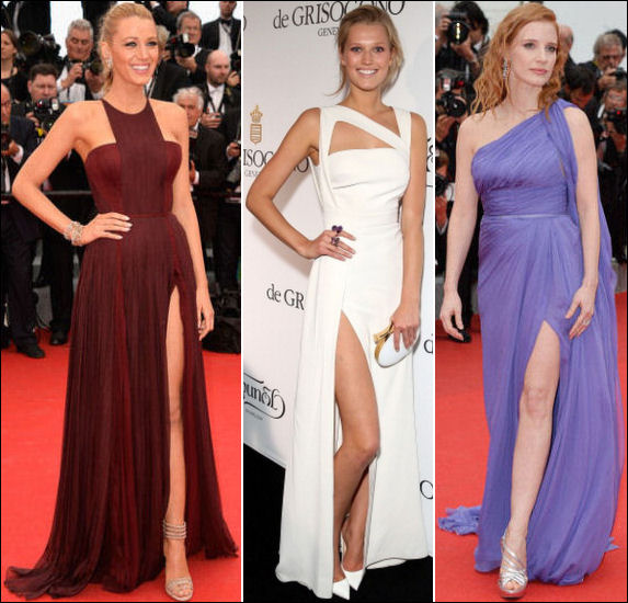 2014 cannes red carpet dresses fashion side slit