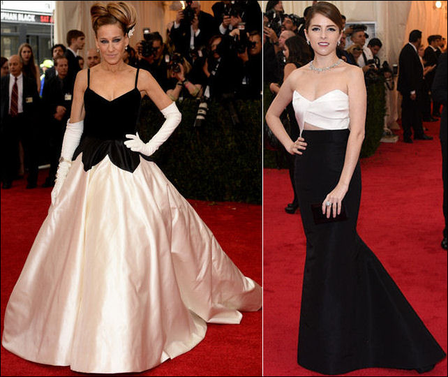 2014 met gala fashion dresses black white sarah jessica parker