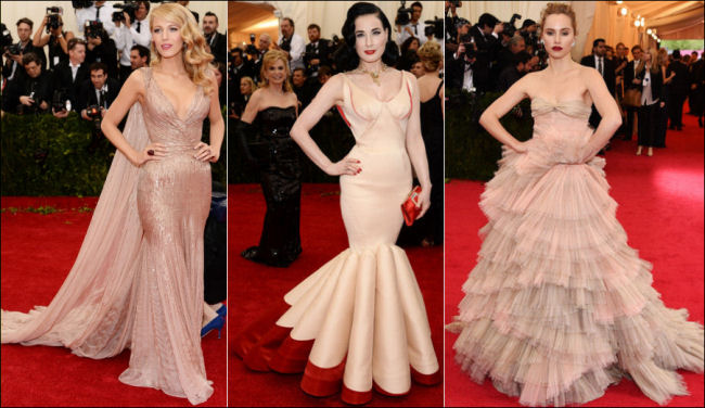 2014 met gala fashion dresses flesh tones