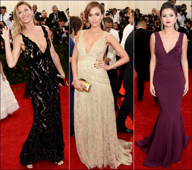2014 met gala fashion dresses plunging