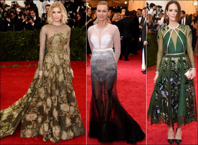 2014 met gala fashion dresses sheer sleeves