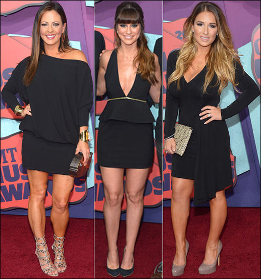 2014 cmt red carpet dresses black sara evans