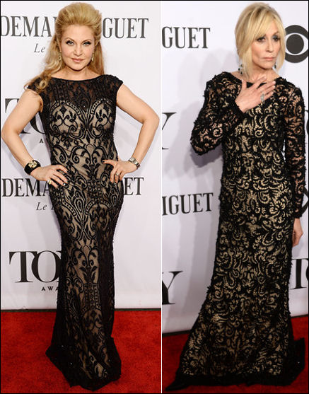 2014 tony awards red carpet dresses black and nude