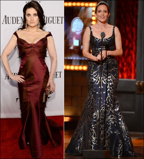 2014 tony awards red carpet dresses idina menzel tina fey