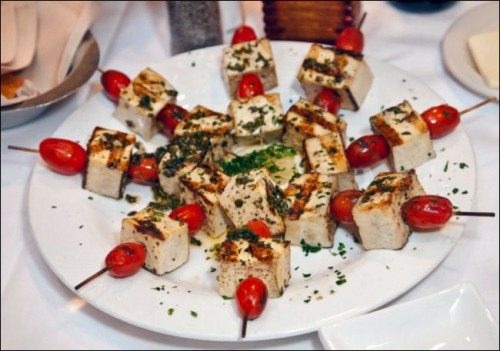 4th of july recipes Tofu Tomato and Herb Skewers