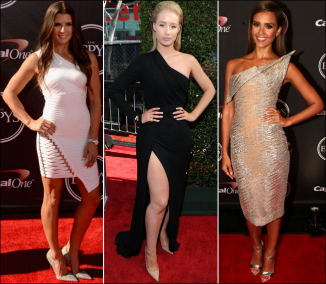 espy awards 2014 fashion jessica alba one shoulder dresses