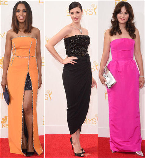 emmys 2014 red carpet dresses fashion strapless