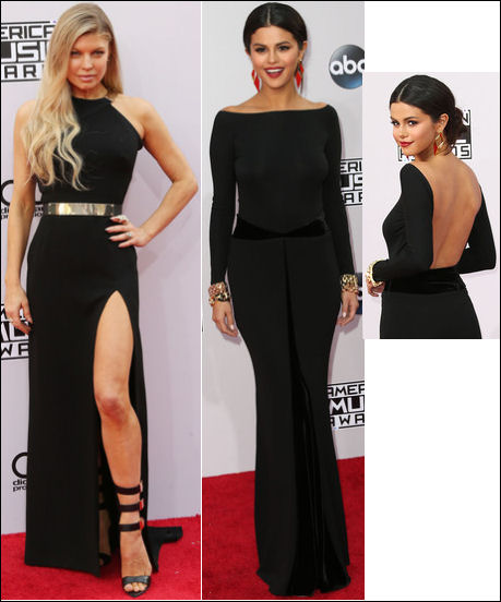 2014 american music awards red carpet dresses selena gomez fergie
