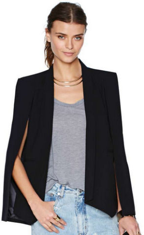 cape blazer nasty gal black