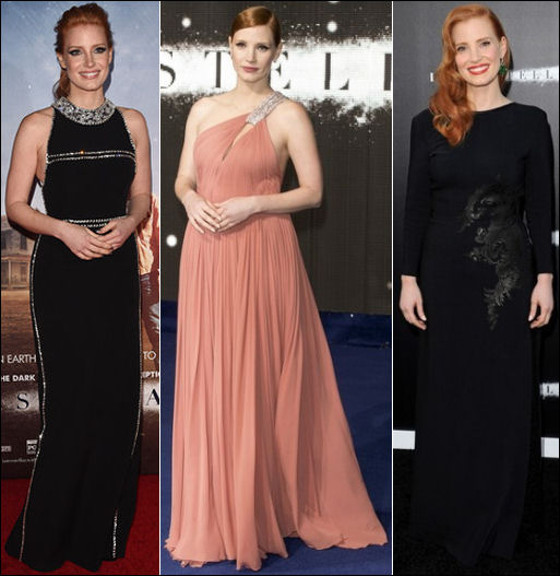 interstellar movie premiere red carpet dresses jessica chastain