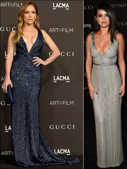 lacma art film gala 2014 red carpet dresses jennifer lopez selena gomez
