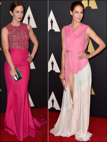 red carpet dresses gowns emily blunt michelle monaghan governors awards 2014