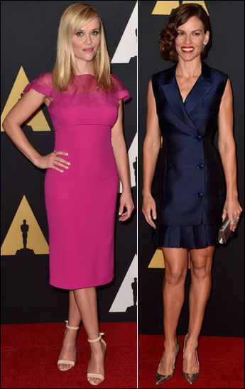 red carpet dresses reese witherspoon hilary swank governors awards 2014