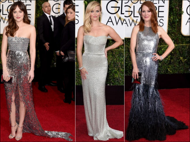 2015 golden globes red carpet dresses fashion silver