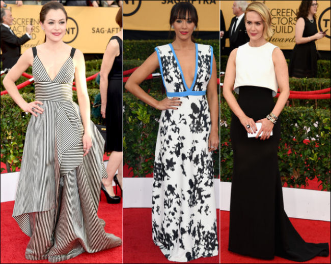 2015 sag awards red carpet dresses black and white