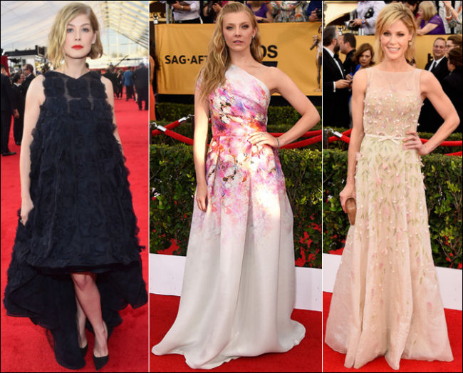 2015 sag awards red carpet dresses florals