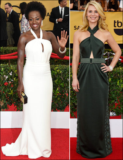 2015 sag awards red carpet dresses keyhole halter