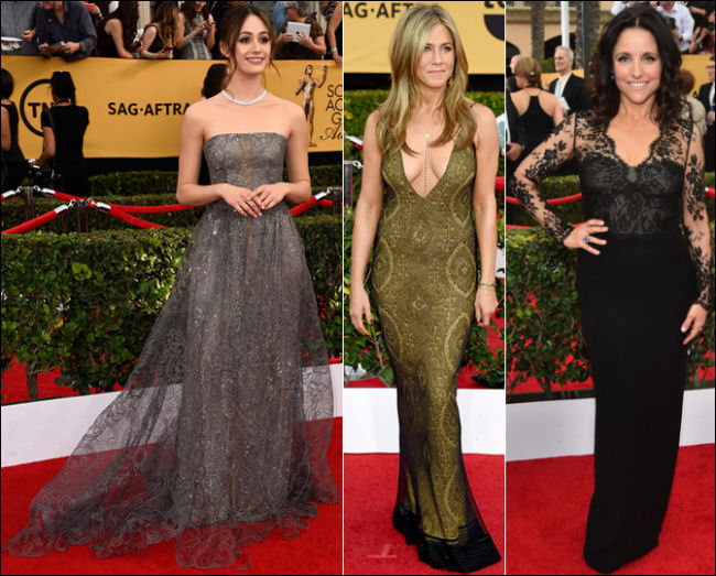 2015 sag awards red carpet dresses lace gowns