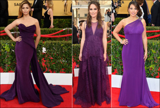 2015 sag awards red carpet dresses purple