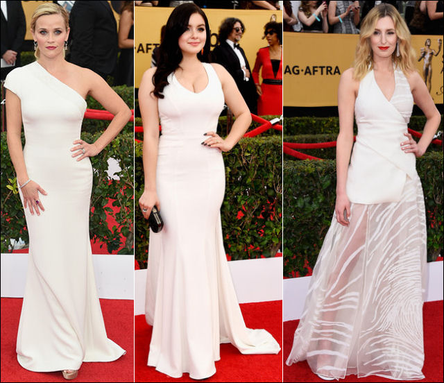 2015 sag awards red carpet dresses white gowns