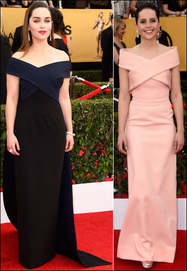 2015 sag awards red carpet dresses emilia clarke felicity jones gowns