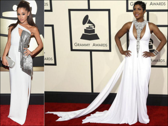 2015 grammys red carpet fashion ariana grande toni braxton
