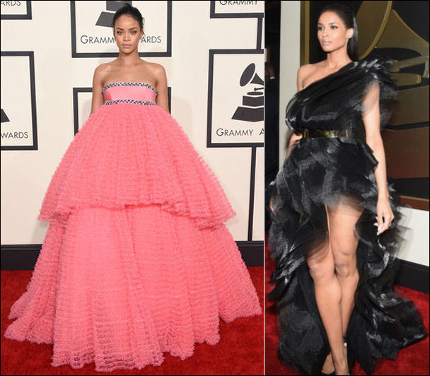2015 grammys red carpet fashion dresses rihanna ciara