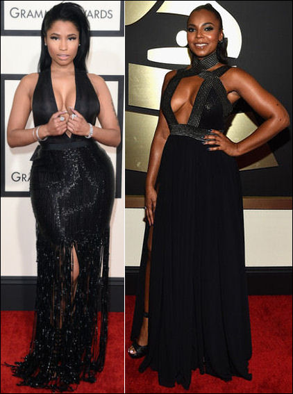 2015 grammys red carpet fashion dresses nicki minaj ashanti