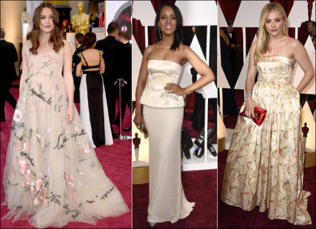 2015 oscar awards red carpet dresses floral gowns