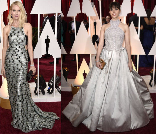 2015 oscar awards red carpet dresses fashion halter gowns