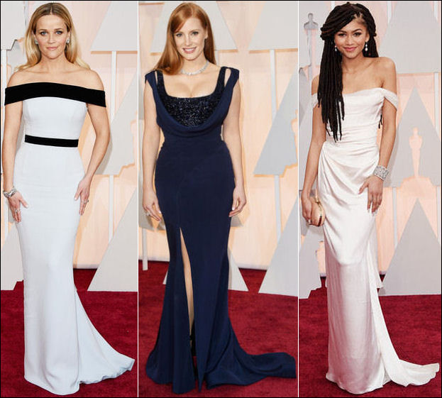 2015 oscar awards red carpet dresses gowns off the shoulder