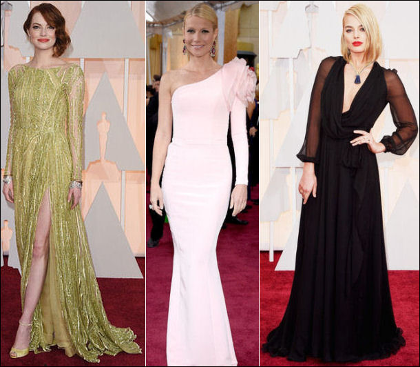 2015 oscar awards red carpet dresses sleeves