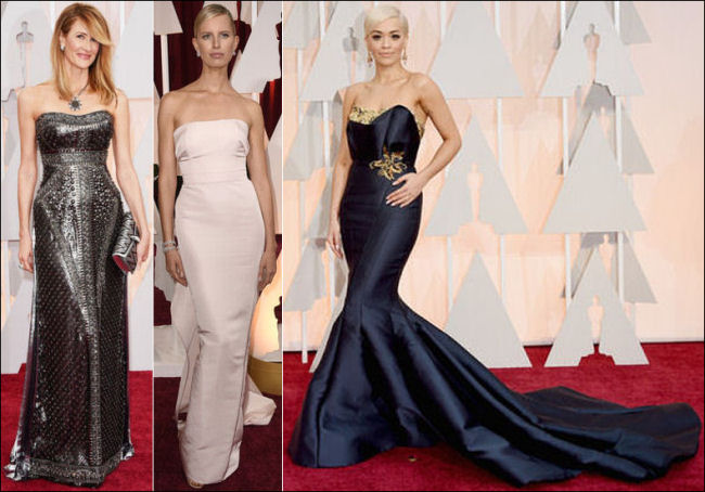 2015 oscar awards red carpet dresses strapless gowns