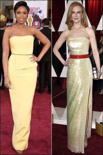 2015 oscar awards red carpet dresses yellow belts