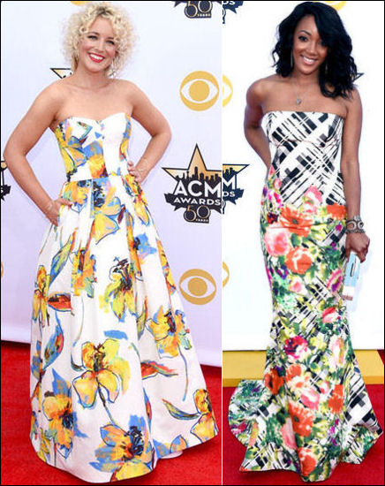 2015 acm awards red carpet dresses fashion florals
