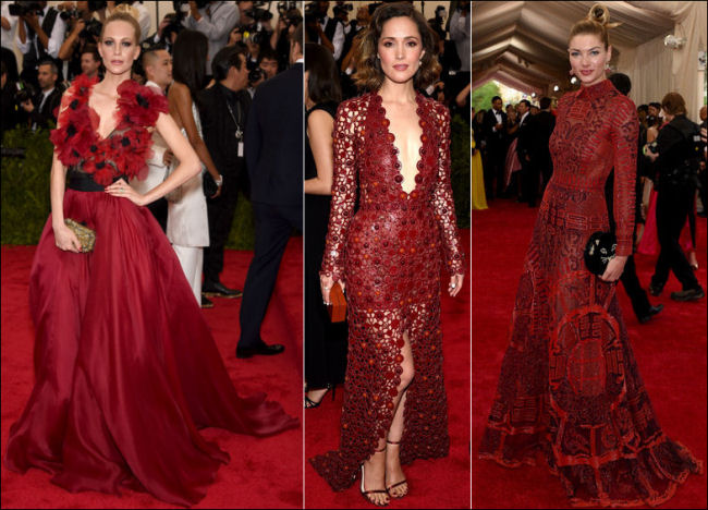 2015 met gala red carpet dresses deep red