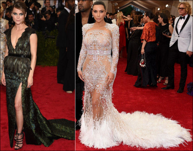 2015 met gala red carpet dresses feathers
