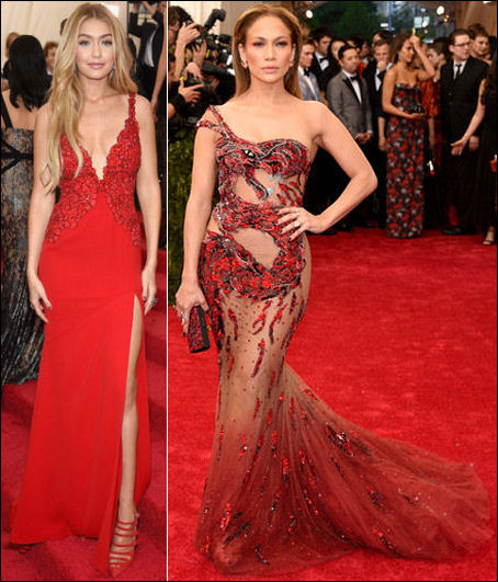 2015 met gala red carpet dresses gigi jennifer lopez