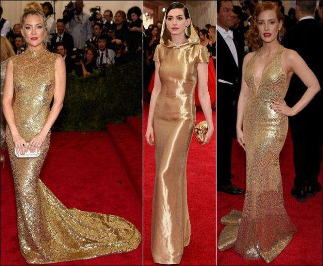 2015 met gala red carpet dresses gold gowns