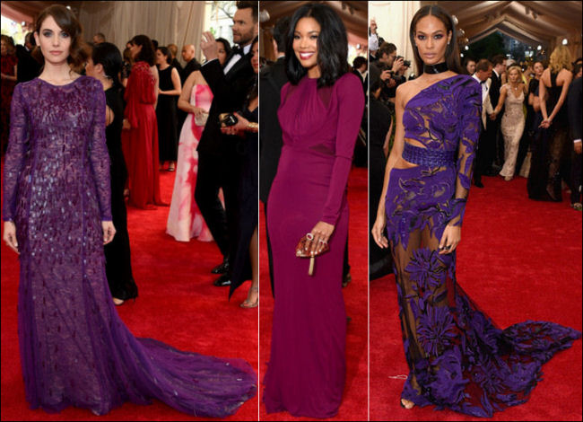 2015 met gala red carpet dresses purple