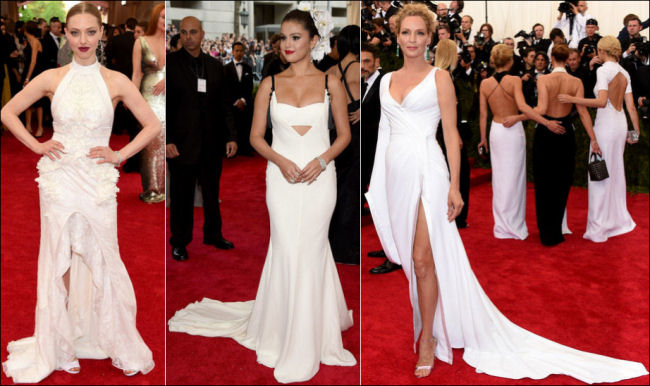2015 met gala red carpet dresses white gowns