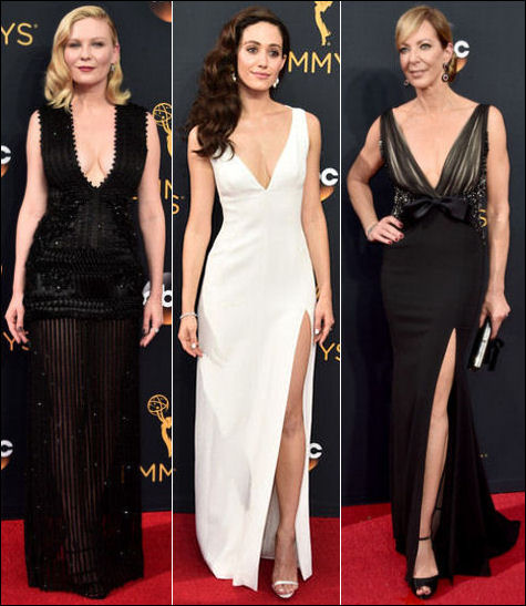 2016 Emmys red carpet dresses plunging necklines