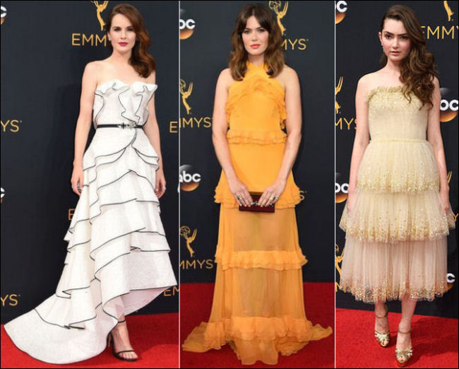 2016 Emmys red carpet dresses ruffles