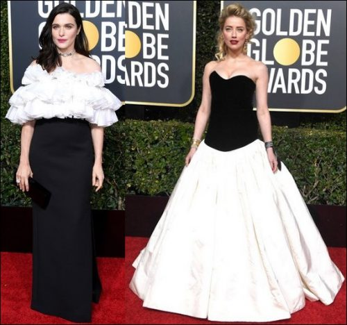 2019 golden globes red carpet dresses BLACK AND WHITE