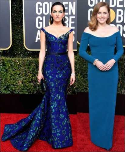 2019 golden globes red carpet dresses BLUE OFF THE SHOULDER
